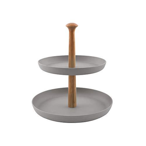 Point-Virgule Etagere mit 2 Etagen zum Servieren von Brownies oder anderen Desserts, Küche Deko Ständer mit Bambus Schalen, 19 cm und 25 cm Durchmesser, inklusiv Stangen Set, grau