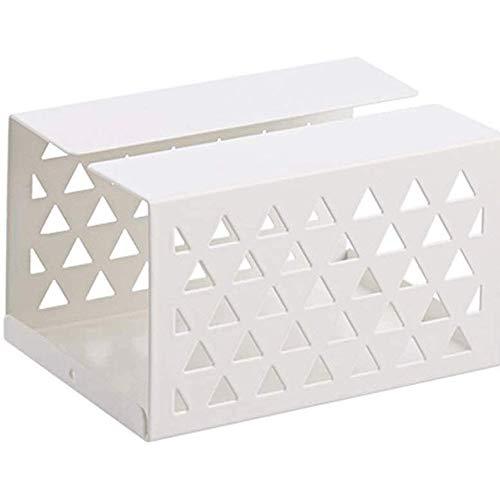 WCJ Smeedijzer Tissue Box Houder weefsel Organizer voor eetkamer, slaapkamer, dressoir (Wit, geel, grijs) 15 x 10.8 x 9cm.