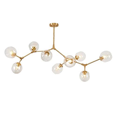 CCSUN Nordic Moderno Bola De Cristal Burbuja Lámpara De Araña,9-luces Sputnik Rama Lámpara De Colgante Ajustable Mundo Girar Antiguo Soplado A Mano Vidrio Pantalla De Lámpara E26-dorado 9-luces