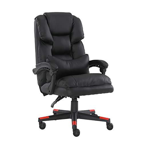 Nordic Time 1 silla de ordenador, silla de oficina en casa, silla de juego giratoria de 360 grados, asiento grande y respaldo cómodo + reposabrazos elevador (negro3)
