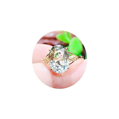 KnSam Anillo de Oro, Oval Hueco Anillos de Boda Mujer Oro Blanco 18K 750 Oro Amarillo con Turmalina Anillos de Boda 750 Oro Anillo de San Valentin Oro Verde 17