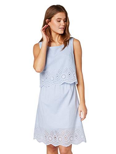 TOM TAILOR Damen 1010454 Kleid, Blau (Blue Thin horizontal 17568), (Herstellergröße:38)
