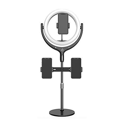 12 Pulgadas USB Selfie Light Con 3 Soporte De Teléfono 3 Modos De Luz 10 Niveles De Brillo Luz De Anillo Led Para Maquillaje Fotografía Transmisión En Vivo Compatible Con Iphone A-Negro 12 pulgadas