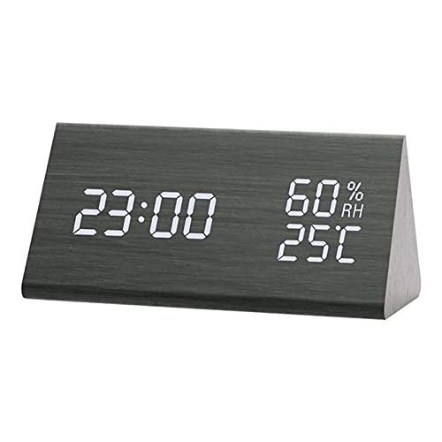 wzroy Despertador De Madera Led, Reloj ElectróNico De TriáNgulo Silencioso, Reloj De Madera con Brillo Ajustable, Reloj ElectróNico Activado por Voz