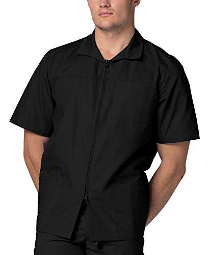 Adar Universal Scrubs for Men - Zippered Short Sleeved Scrub Jacket - 607 - Black - 3X