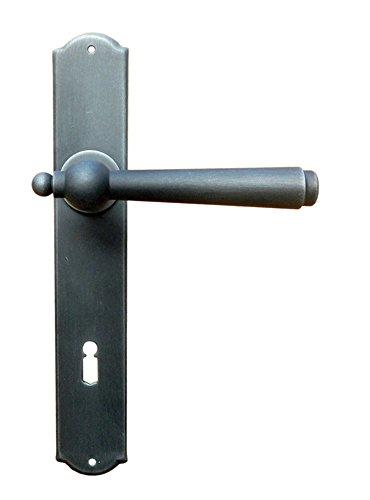 Gusseisen Drückergarnitur für Zimmertüren Türbeschlag Antik auf Langschild - Modell München | BB 90 mm - Buntbart | Schmiedeeisen schwarz verzinkt | Türdrücker mit Hochhaltefeder