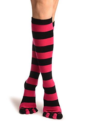 LissKiss Black und Pink Stripes und Printed Smiles Knee High Toe Socks - Rosa Zehensocken Einheitsgroesse (37-42)