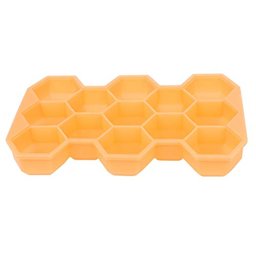 MULIN Stackable & Removable Lid Ice Tray Mold, Suitable for Spring and Summer, Quick Freezing, Easy to Clean, Non-Toxic, Durable, Easily to Pull Out Freezer Molds Orange