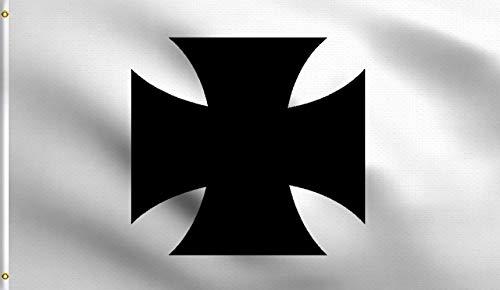 Zudrold Bandera de Cruz de Hierro 3X5 pies Bandera de poliéster de pie Blanco