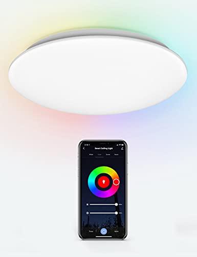 Maxsure Plafonnier LED 18W, Plafonnier Bluetooth RGBW 2700-6500K 1800LM Φ31*5,5cm, Compatible avec Alexa/Google...