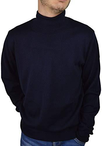 Iacobellis Maglione Uomo Pullover Dolcevita Misto Lana Merinos Extrafine Made in Italy 4XL Blu