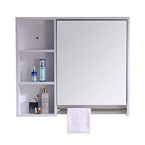 HAOYANGDE Szafka lustrzana, litego drewna Łazienka lustro lustrzane lustrzane pudełko ściany wiszące łazienka lustrzana szafka z półki wiszącej do wiszącego magazynu biały, kod towarowy: JZEMGD-39