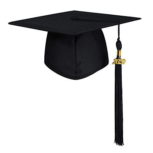GraduatePro Abschluss Hut 2020 Geschenk Doktorhut mit Quaste für Oberschule Uni Master Schwarz