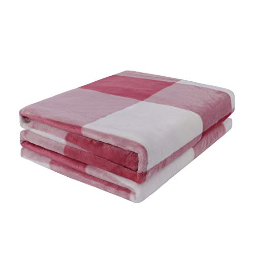 """PiccoCasa Plaid Flannel Fleece Throw Blanket,Buffalo Checker Pink Soft Blankets and Throws,Tartan Decorative Lightweight Plush Blanket for Couch Sofa Traveling,50"""" x 60"""",Pink and White"""