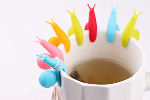 Mlying 36er Set süße Schnecke Form Teebeutel Halter, Tasse Glas Deko, 6 Farben