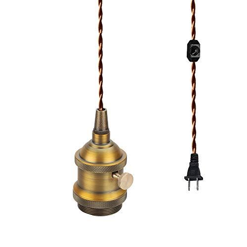 FSLIVING レトロ 1灯ペンダント コンセント式(4.5m) 吊り下げ高さ調節可 調光スイッチ付き 調光電球対応古アンティーク紐 真鍮メッキ古仕上げ インテリア照明 カフェ