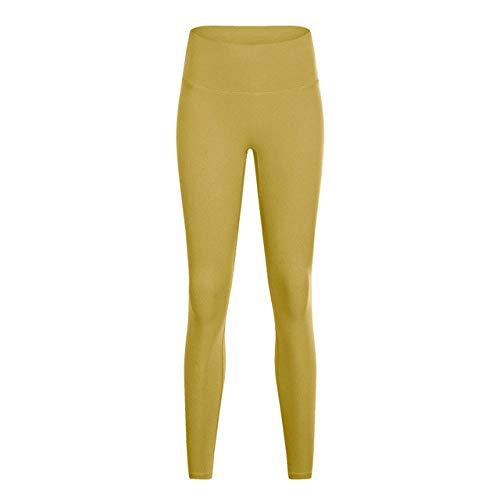 YHWW Leggings,Pantalon de Yoga de Gymnastique d'entraînement Naked-Feel Femmes Collants de Fitness Taille Haute à l'épreuve des Squats Leggings de Sport, Curcuma, XL, 12