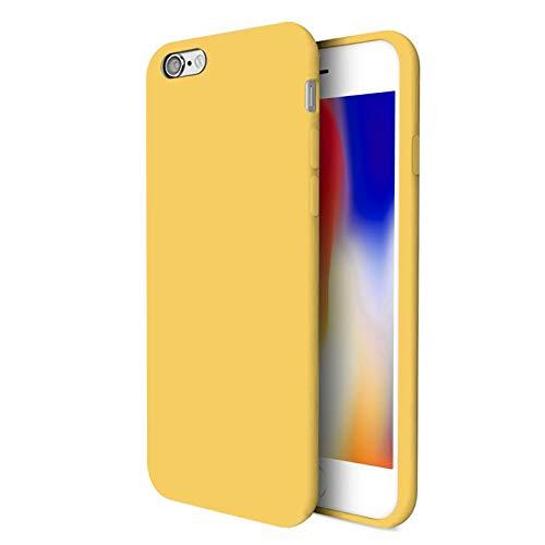 TBOC Funda para Apple iPhone 7 [4.7'] - Carcasa Rígida [Amarilla] Silicona Líquida Premium [Tacto Suave] Forro Interior Microfibra [Protege la Cámara] Resistente Suciedad Arañazos