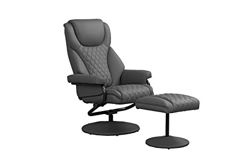 Office Swivel Chair with Footstool, Faux Leather Reclining Executive and Gaming Chairs (Grey)