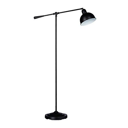 Relaxdays vloerlamp scharnier GALANDO, vintage design, HxBxD: 156 x 72 x 25 cm, massief metaal, leeslamp, eenvoudig design, zwart