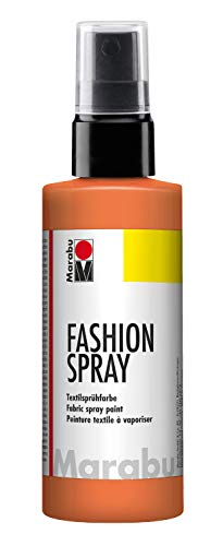 Marabu 17190050225 - Fashion Spray mandarine 100 ml, Textilsprühfarbe, m. Pumpzerstäuber, für helle Textilien, weicher Griff, einfache Fixierung, waschbeständig bis 40°C, tolle Effekte auf Stoff