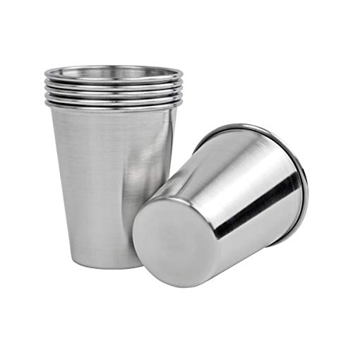 12 Oz Premium Stainless Steel Cups (6 Piece), Unbreakable Durable Stainless Drinking Glasses, Cups for Home and Outdoor Activities, Premium Metal Cups