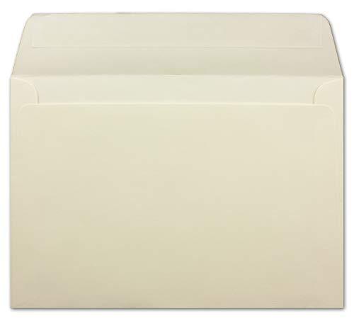 25 DIN C5 Briefumschläge Creme gerippt - 15,3 x 22,0 cm - 120 g/m² - Gerade Klappe mit Haftklebung Post-Umschläge ohne Fenster von Ihrem Glüxx-Agent