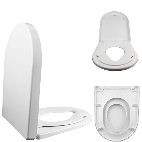 Family D Shape Toilet Child Training Seat • Soft Close • Top & Bottom...