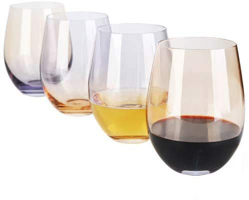 4Pack18 OzDESIGN·MASTER Colorful Stemless Wine Glasses 2021 Fashion Trends Drinking Glasses Ideal for Red and White Wine Cocktail Water and Party Gifts Smoke grey amp Whiskey
