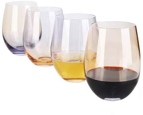[4-Pack, 535ml/18oz]DESIGN·MASTER- Copas de Vino sin Tallo de Colores, Tendencias de Moda 2020, Ideales para Vino Tinto y Blanco, Cócteles, Agua y Regalos para Fiestas. (Gris Humo & Whisky)