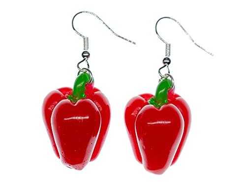 Miniblings Papryka kolczyki zawieszka Peperoni czerwony duży gotowanie kucharza — ręcznie robiona modna biżuteria I kolczyki do uszu posrebrzane
