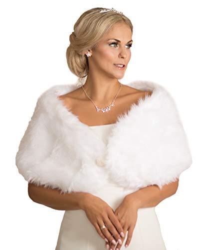 Unbekannt Brautjacke Bolero Fell Weiß Ivory Pelz NEU Hochzeit Wedding Bridal Kunstpelz (38 bis 42, Weiß)