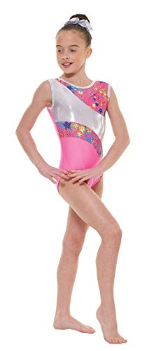 Tappers & Pointers Gym 39 Foiled Nylon Lycra Gymnastic Leotard (Fluorescent Pink/Pink Silver Metallic Astro Foil/Platiunum Shine, Size 2 (approximately 8-10))