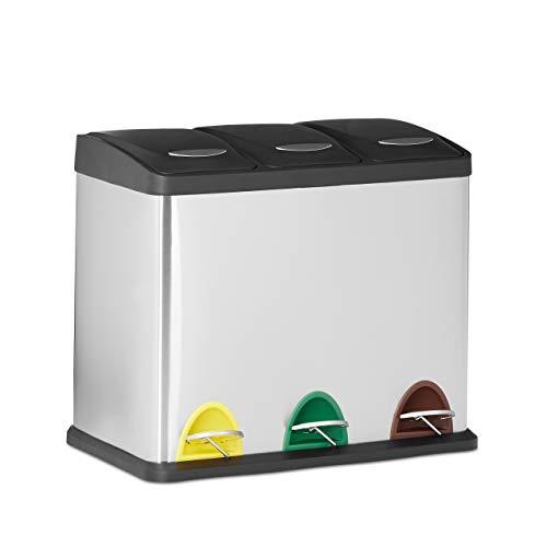 Relaxdays 10022323 Cubo de Basura Reciclaje- 3 Compartimentos, 3 x 8L, Acero...