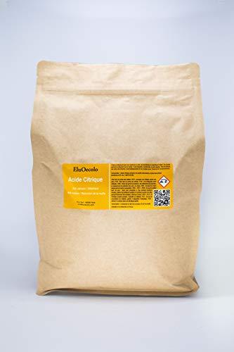Acide Citrique Anhydre 2,70kg DOYPACK zippé (qualité alimentaire & pharmaceutique) avec doseur à l'intérieur EluOecolo Made in France