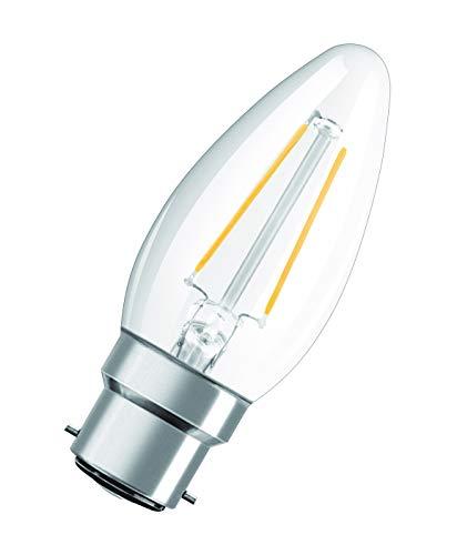 OSRAM Candela Lampadine LED, 2.5 W Equivalenti 25 W, Attacco B22d, Luce Calda 2700K, Confezione da 10 Pezzi