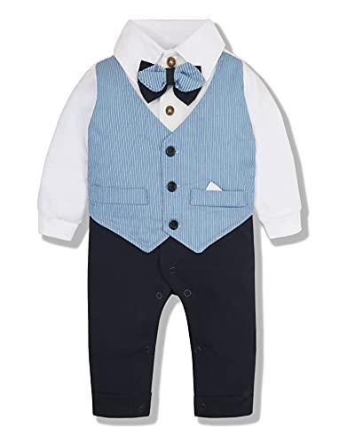 SOLOYEE Ropa de bebé niño 3-18 M Mamelucos de caballero Trajes de bautismo Bowtie Conjuntos de ropa formal de manga larga para bebés, Azul 66, 6-9 Meses