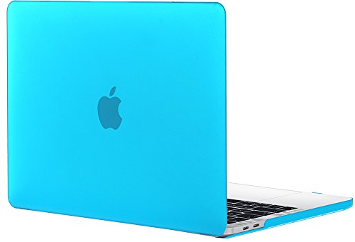 TOPIDEAL MacBook Pro 15 Case (2018/2017//2016 Release, Model: A1990/A1707) Smooth Matte Frosted Plastic Hard Cover for Macbook Pro 15 Inch with Touch Bar and Touch ID - Aqua Blue