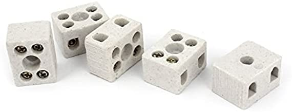VHLL 5 Pcs 2 Way 5 Hole 2W5H Ceramic Terminal Block Wire Connector 5A