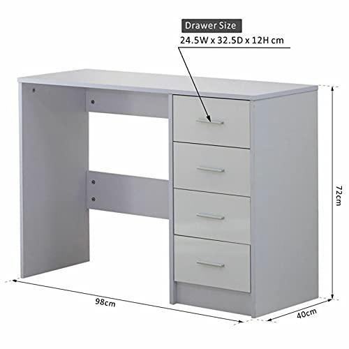 HOMCOM High Gloss Vanity Dressing Table 4 Drawer Computer PC Study Desk Office Furniture White
