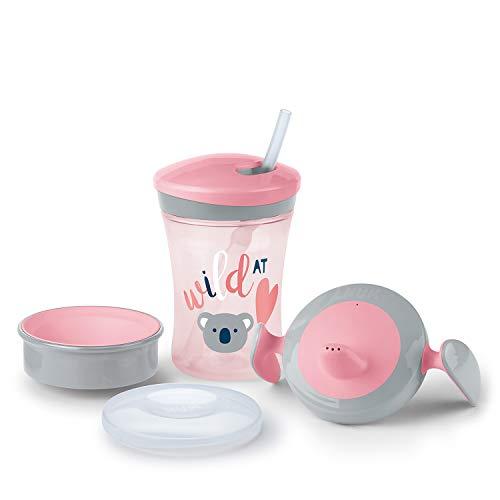 NUK 3-in-1 Trinklern-Set, mit Trainer Cup Trinkbecher Baby, Magic Cup 360° Trinklernbecher und Action Cup Trinklernflasche, 6+ Monate, 230ml, BPA-frei, koala (rosa)