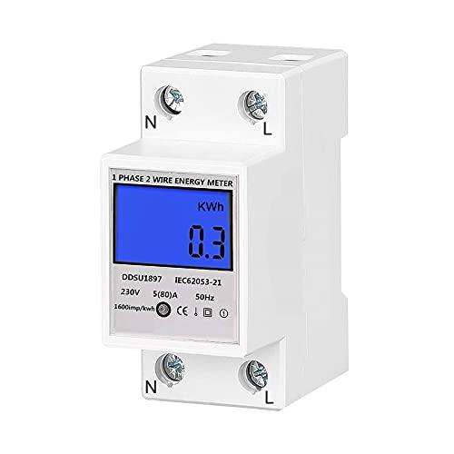 Contatore di Corrente Alternata, otutun Contatore Elettrico Digitale Monofase Contatore di Energia Monofase Contatore di Corrente Digitale, DIN-Rail Contatore Energy Elettrico 5 (80) A 230 V