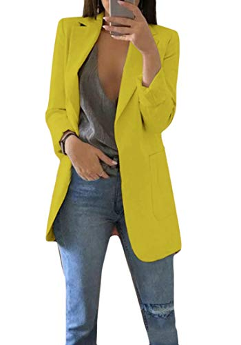 Sweetmini Womens Notched Lapel Casual Lange mouwen Open Jas Blazer Jas