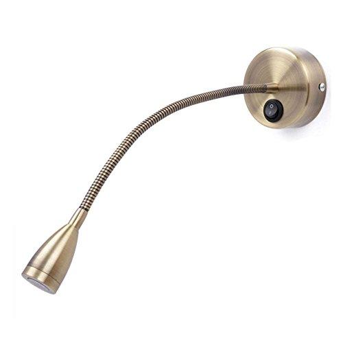 Meanyee Flexible Wandleseleuchten/Nachttischlampe mit Schalter, 1 * 3 Watt CREE LED, Bronze
