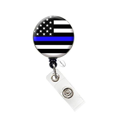 Thin Blue Line Nurse Badge Reel Retractable ID Badge Holder (Thin Blue Line Flag Badge)