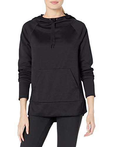 Hanes Women's Sport Performance Fleece Pullover Hoodie, Black Solid/Black Heather, S