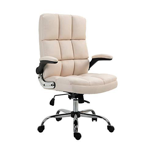 Mendler Bürostuhl HWC-J21, Chefsessel Drehstuhl Schreibtischstuhl, höhenverstellbar - Stoff/Textil Creme-beige