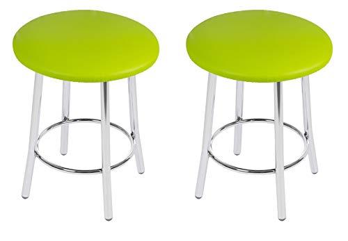 BSD Sgabello Moderno in Ecopelle, Set di 2 Sgabelli con Gambe in Metallo - Solid Cromo - Colore: Lime - Set di 2