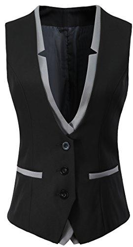"Vocni Women V-Neck Slim Fit Business Office Bottoned Dressy Suit Vest Waistcoat,Black,US XS+ (Fit Bust 31.9""-33.9"")-Tag L"