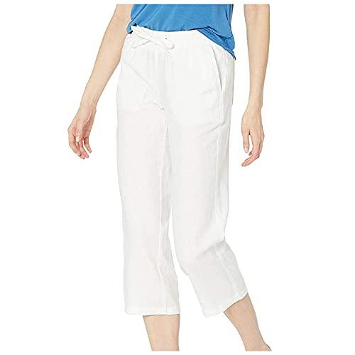 Women's Capri Pants Wide Leg Elastic Waist Yoga Pants White Medium